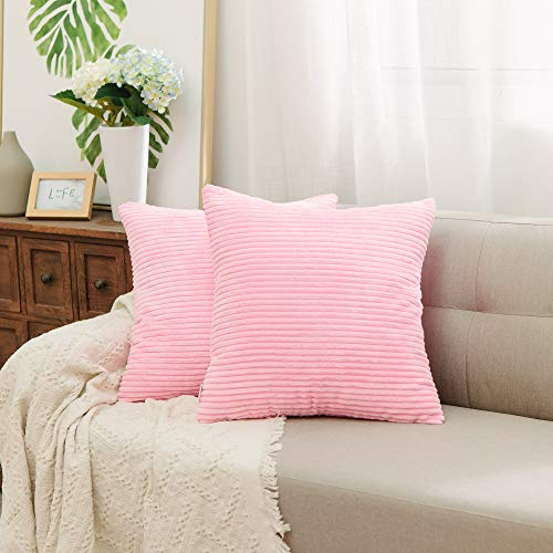 (NATUS WEAVER 2 Sets Striped Corduroy Velvet Large Euro Throw Pillow Sham Cushion Cover for Teen Girls, 24 x 24 inch (60 cm), Pink)