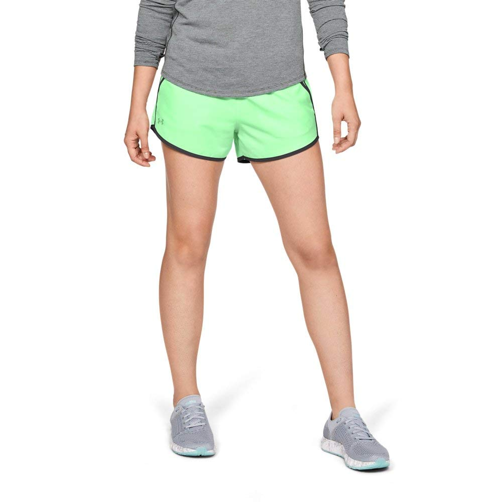 Under Armour womens Fly By Running Shorts, Green Typhoon (375)/Reflective, X-Small
