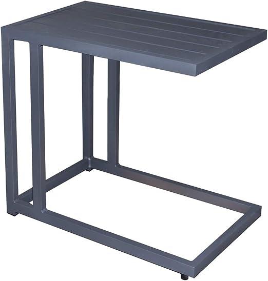 Mesa Auxiliar de sofá para Exterior de Aluminio Negra, de 60x35x57 cm - LOLAhome: Amazon.es: Jardín