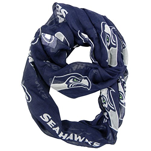 NFL Seattle Seahawks Sheer Infinity Scarf, One Size, Blue