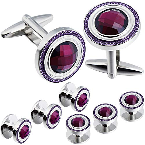 HAWSON Crystal Cufflinks and Studs Sets for Men's Tuxedo Shirts with Gift Box - One Pair Cufflinks with 6 pcs Studs - Purple