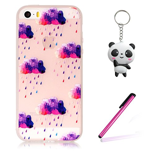 iPhone 5 5S Hülle,3D Lila wolken Premium Handy Tasche Schutz Transparent Schale Für Apple iPhone 5 5S / SE + Zwei Geschenk