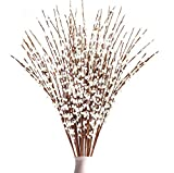 Rinlong Artificial Jasmine 10pcs Tall Winter Jasmine Fake White Flower Pussy Willow Branches for Home Kitchen Party Decor Table Centerpiece Living Room Bedroom Farmhouse Decoration