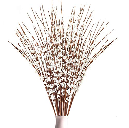 Rinlong Artificial Jasmine 10pcs Tall Winter Jasmine Fake White Flower Pussy Willow Branches for Home Kitchen Party Decor Table Centerpiece Living Room Bedroom Farmhouse Decoration (Pussy Branches Willow Lighted)