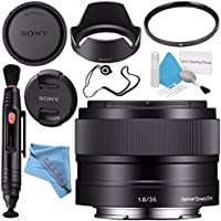 Sony E 35mm f/1.8 OSS Lens SEL35F18 + 49mm UV Filter + Lens Pen Cleaner + Fibercloth + Lens Capkeeper + Deluxe Cleaning Kit Bundle