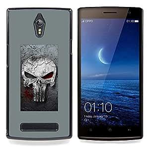"Qstar Arte & diseño plástico duro Fundas Cover Cubre Hard Case Cover para OPPO Find 7 X9077 X9007 (Gray Sancionar cráneo"")"