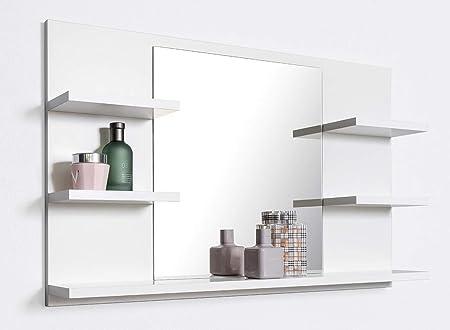 Domtech Miroir De Salle De Bain Avec Etageres Blanc Miroir Miroir Mural Miroir Salle De Bain