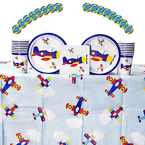 Lil' Flyer Airplane Birthday Party Supplies Pack for 16 Guests: Stickers, Dessert Plates, Beverage Napkins, Table Cover, and -