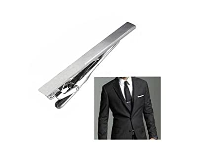 5bb3e23b4943 Image Unavailable. Image not available for. Color: Men Stainless Steel  Formal Simple Necktie Tie Bar Clasp ...