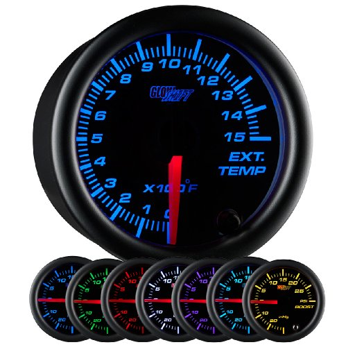 Exhaust Temperature Egt Gauge - GlowShift Black 7 Color 1500 F Pyrometer Exhaust Gas Temperature EGT Gauge Kit - Includes Type K Probe - Black Dial - Clear Lens - for Diesel Trucks - 2-1/16