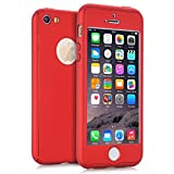 KAMII iPhone 5S Case, iPhone SE case, [Ultra Thin] Hybrid Pc Board with Metallic Luster [Full Body] Coverage Protection 360 Degree All-round Protection Hard Slim Case for iPhone 5/5S/SE (Red)