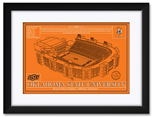 Northwest Art Mall Boone Pickens Football Stadium School Colors Oklahoma State University Framed & Matted Hand-Drawn by Robert Redding. Print Size: 13
