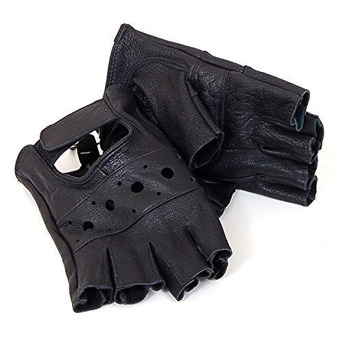 Price comparison product image Alpine Swiss Mens Leather Workout Fingerless Motorcycle Gloves Black 2XL