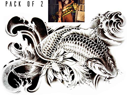 Novu Ink Japanese Koi Temporary Tattoos | PACK OF 2 | Fake Tattoos | Art Design Transfers/Stickers | For Body, Arm, Leg etc | (21cm x 14cm) (Kanji Tattoos)