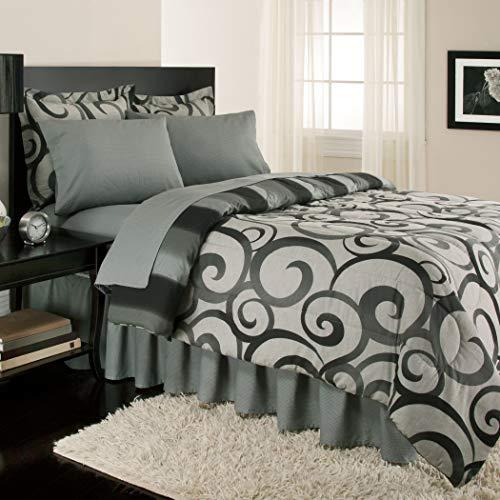 Royale Linens Sloane Street Alexander Scroll, Reversible Twin Bed in a Bag, Grey/Black