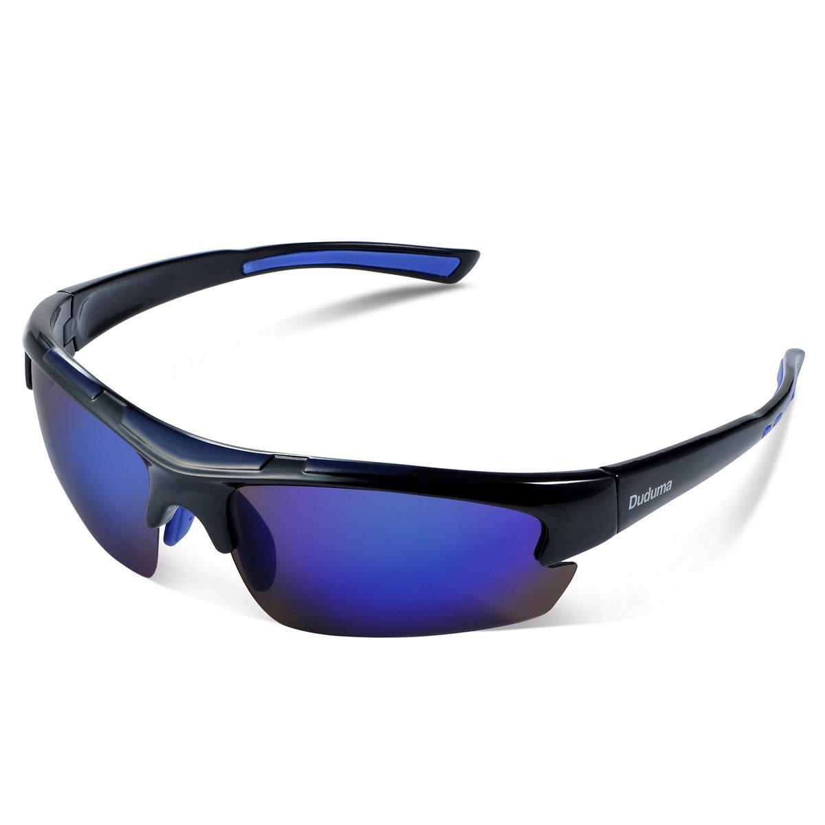 Duduma Polarized Designer Fashion Sports Sunglasses for Baseball Cycling Fishing Golf Tr62 Superlight Frame (black/blue)