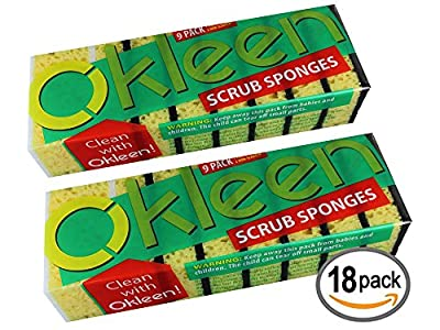 Okleen Multi-Use Scrub Sponge For Kitchen & Household Cleaning, 18 Sponges Pack. Two Types Of Kitchen Sponges: Heavy Duty Scrub Sponges & Non Scratch Sponges For Teflon. Odorless Cleaning Sponges