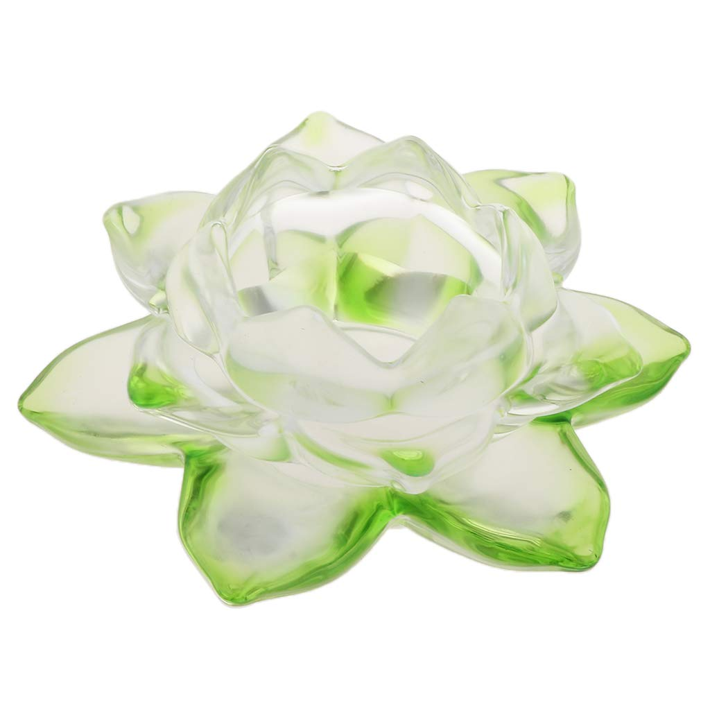 Fityle 5 Buddhist Crystal Glass Lotus Flower Tea Light Candle Holder Feng Shui Home Party Wedding Decor Clear