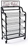 Displays2go BAKCRT4NBK Baker's Rack with 4 Tilting Wire Shelves, Black