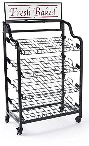 Displays2go BAKCRT4NBK Baker's Rack with 4 Tilting Wire Shelves, ()