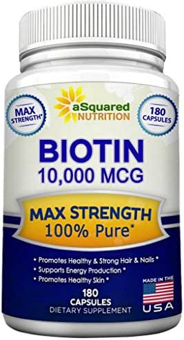 Biotin with 10,000 MCG - Max Strength Vitamin B Supplement for Men & Women, Vitamin B7 Biotin Pills to Improve Skin Health, Hair Growth, Thicker Nails & Energy, 180 Capsules 10000mcg Complex