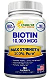 Biotin With 10,000 MCG – Max Strength Vitamin B Supplement for Men & Women, Vitamin B7 Biotin Pills to Improve Skin Health, Hair Growth, Thicker Nails & Energy, 180 Capsules 10000mcg Complex Review