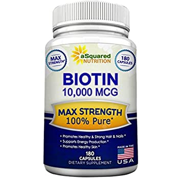 Biotin With 10,000 MCG - Max Strength Vitamin B Supplement for Men & Women, Vitamin B7 Biotin Pills to Improve Skin Health, Hair Growth, Thicker Nails ...
