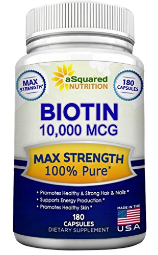[Biotin With 10,000 MCG - Max Strength Vitamin B Supplement for Men & Women, Vitamin B7 Biotin Pills to Improve Skin Health, Hair Growth, Thicker Nails & Energy, 180 Capsules 10000mcg Complex] (Two No Iron 180 Caps)