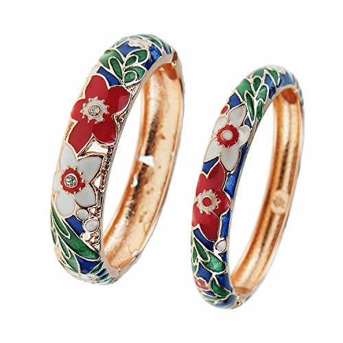UJOY Bracelet Cloisonne Jewelry Colorful Fashion Opening Hinged Bangles Crafted Enamel Flower Gifts for Women 88A11 Navy Blue ()