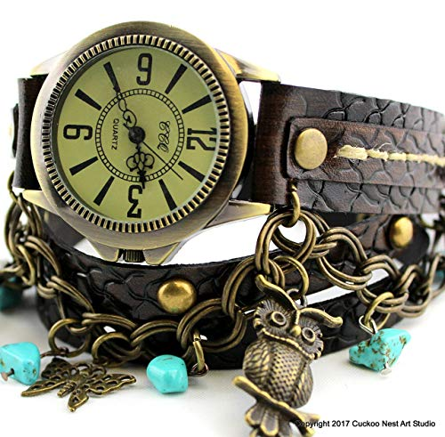 Bohemian studded leather wrap watch with turquoise stones