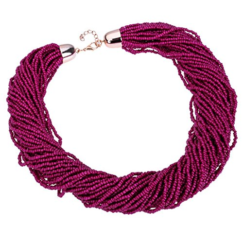 Fashion Multilayer Seed Bead Cluster Strand Handmade Bib Choker Necklace (Purple)