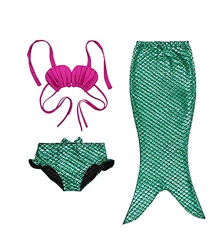 PGXT Girls 3 Pcs Princess Mermaid Tail Swimwear Swimsuit Bikini Set Green 1 S