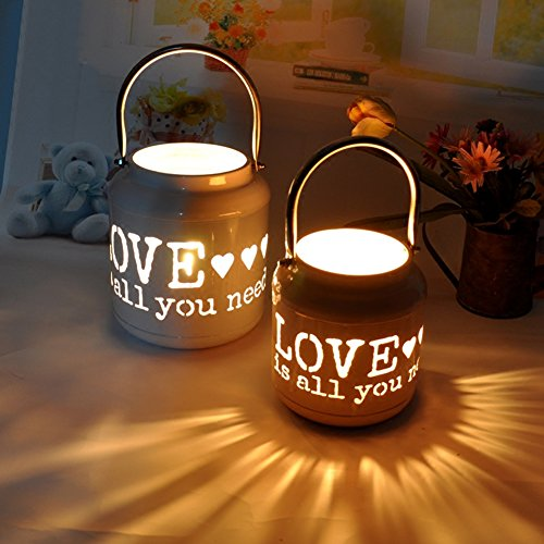 - Yunhigh Hollow Candle Holder with Handle Hanging Wall Tealight Lantern Holder Wedding Centerpieces Iron Artificial Flower Pot for Valentine's Day (Love is All You Need) - Pink