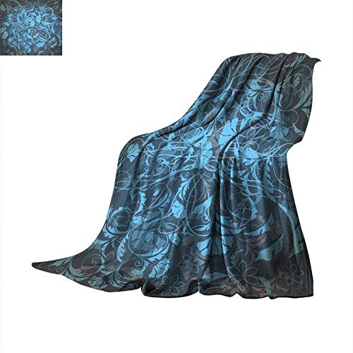 Degrees of Comfort Weighted Blanket Floral Wallpaper Pattern with Blue Ornament in Victorian Style Throw Blanket 50