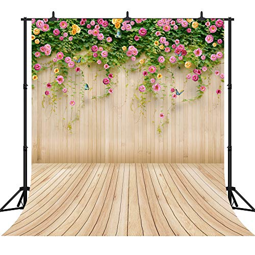 DePhoto 10X10FT(300X300CM) Wooden Wall with Flowers Seamles Vinyl Backdrop Valentine's Day or Wedding Theme Photography Photo Background Studio Prop PGT318D -