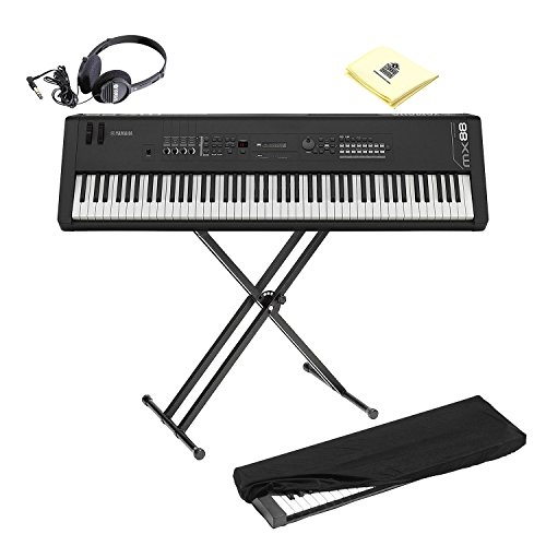 Yamaha Standard Engine (Yamaha MX88 Full-Size 88 Key Graded Hammer Standard Synthesizer Controller with 1000+ MOTIF XS Sounds, VCM FX Engine, Bundled Software with Keyboard Stand, Keyboard Cover, Headphone and Keyboard Cloth)