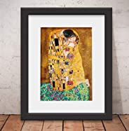 Quadro Decorativo Poster Gustav Klimt O Beijo Vidro & Paspatur 46x