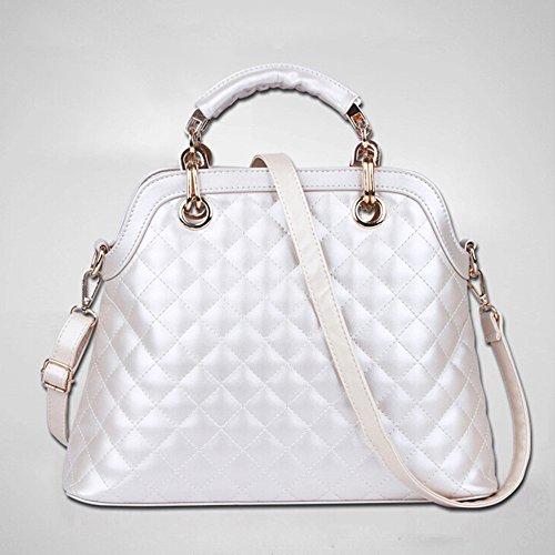 BYD - Mujeres Carteras de mano Set 3 in 1 Set Color puro Alta calidad PU cuero Diamond Shape Mutil Function with 1 Purse and 1 Wallet Elegant Fashion School Bag Work Office Bag Blanco