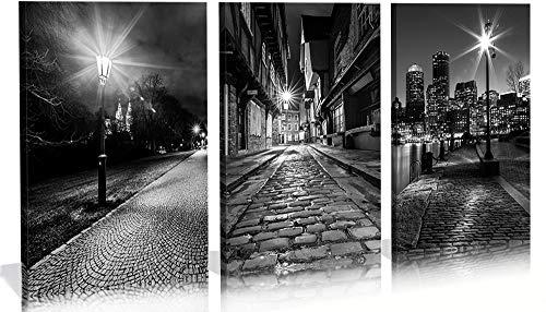 City Wall Art,Black White Cityscape Canvas Print Wall Art,Boston Skyline-York,UK-Historical Center Prague,Street Light Close-up Picture Home Decorations Large Modern 3 Panels Framed Cityscape Artwork -