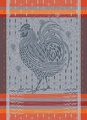 Garnier Thiebaut Towel (Garnier Thiebaut, Le Coq Design Orange (Rooster) French Jacquard Kitchen / Tea Towel, 100 Percent Cotton)