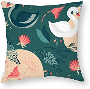 VinMea Decorative Pillow Covers Elegant Swan Motif Theme Throw Pillow Case Cushion Cover Home Decor,Square 18 X 18 Inches