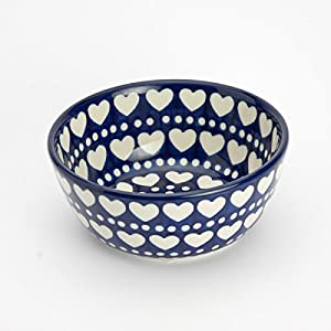 Polish Pottery Cereal Bowl – Heart to Heart 12cm D x 5cm H