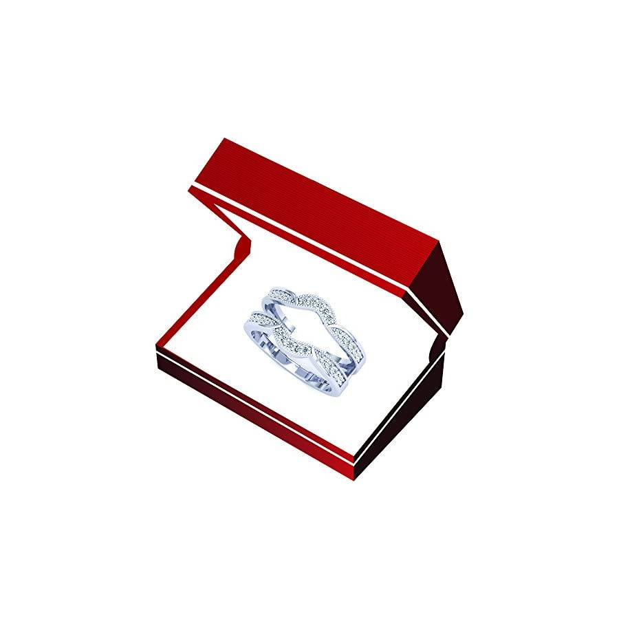 Dazzlingrock Collection 0.34 Carat (ctw) 10K Gold Round Diamond Wedding Band Enhancer Double Guard Ring 1/3 CT