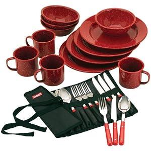 Coleman 24-Piece Enamel Dinnerware Set, Red 51ESSPXKMAL