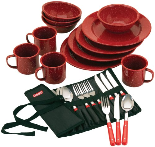 Red Enamelware - Coleman 24-Piece Enamel Dinnerware Set, Red