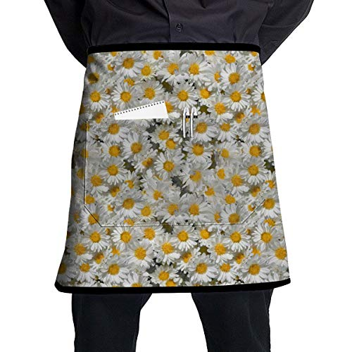 SBDP75wq 2 Pockets Waist Apron,Daisy Garden Pattern Professional Kitchen Half Short Apron for Men Women,Cooking, Grill and Baking,Durable Easy Care