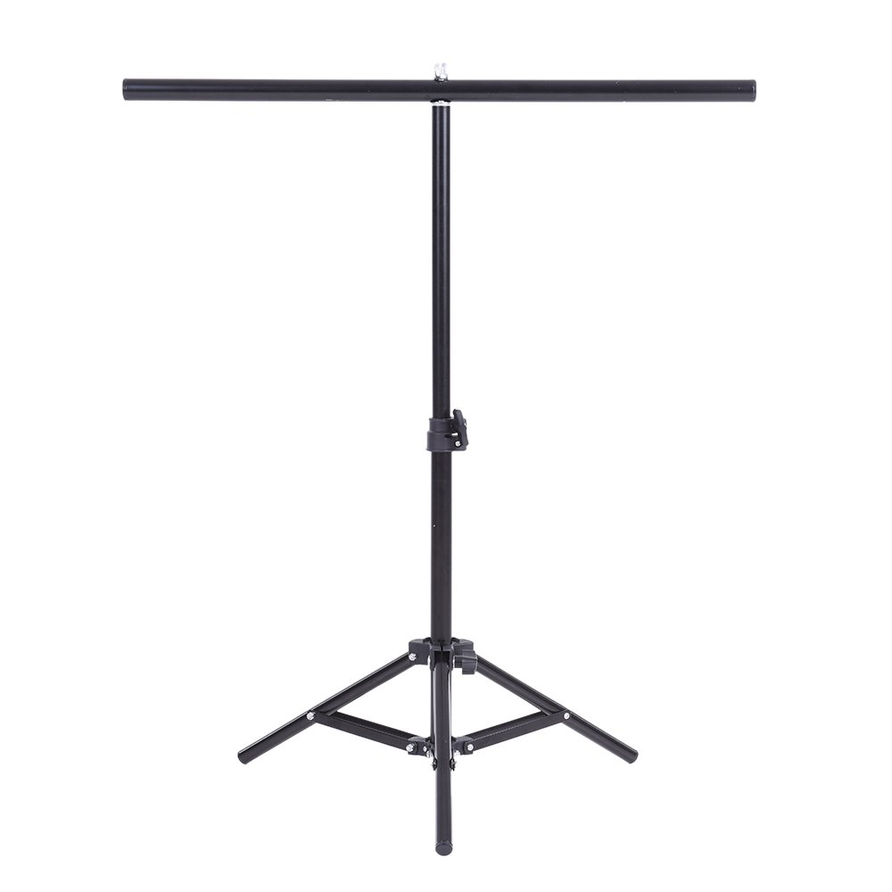 Andoer 60.5 * 70cm Small Photography Studio Video Metal Support Stand System Kit Set w/Crossbar & 3 * Clamps for PVC Backdrop Background
