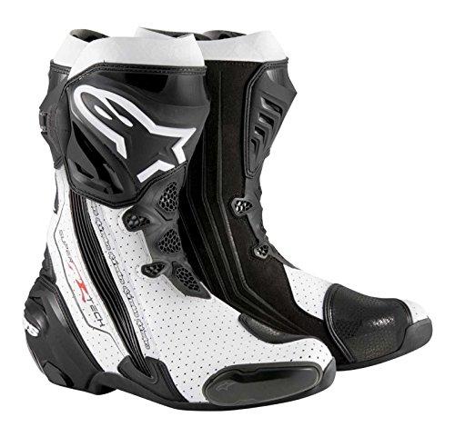 (Alpinestars Supertech R Men's Motorcycle Road Racing Boots (Black/White, EU Size 44))
