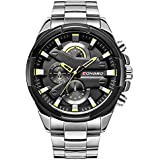 Longbo Silver Stainless Steel Golden Decorative Subdials Scratch Resistant Waterproof Luxury Watch for Men and Boys