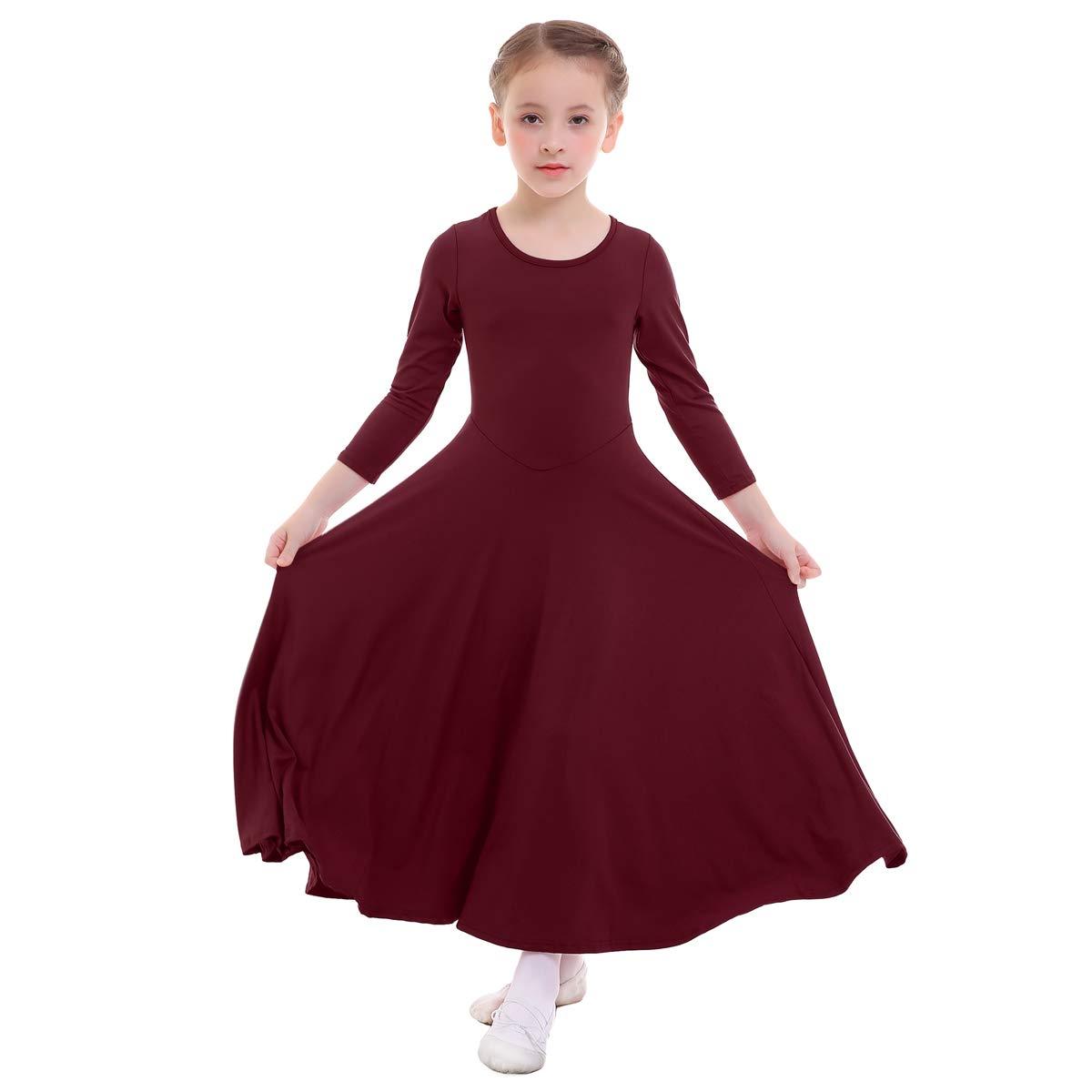 OwlFay Girls Praise Dance Dress Liturgical Full Lengh Skirts Long Maxi Gown